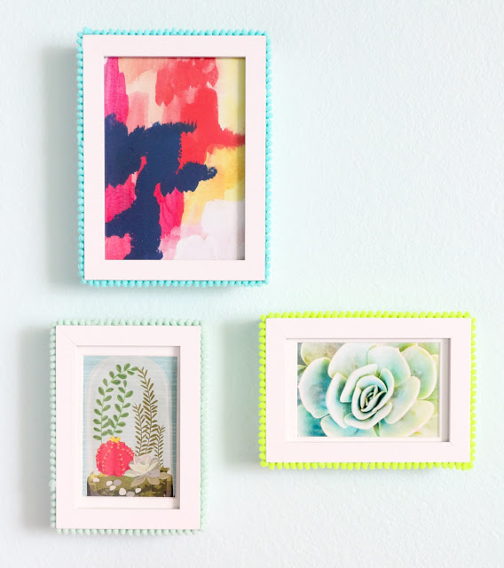DIY bold pompom trim photo frames (via www.shelterness.com)