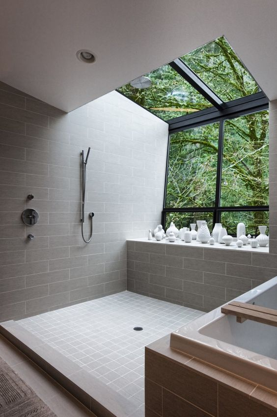 skylights and part of the wall glazed to enjoy the sky and forest looks while having a shower