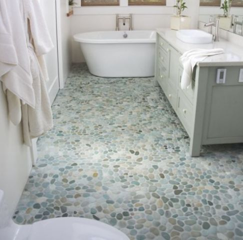 use green pebble tiles on the bathroom floor, so you'll get no fuss and a cool floor