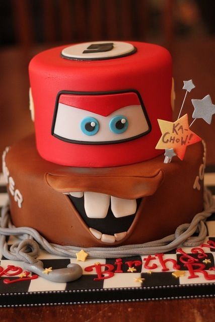 a Cars-themed birthday cake in bold colors looks super cool
