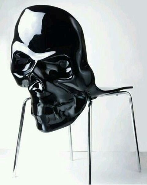 large black skull chair for a Gothic touch