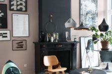 12 a dark green velvet bean bag chair accentuates the blush and black space