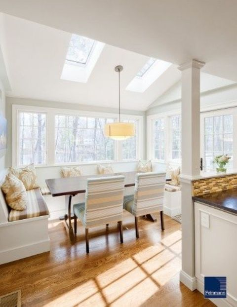 a glazed dining zone is offered views and daylight with a couple of skylights above