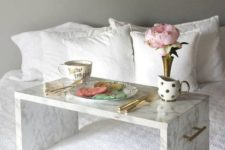 12 a marble contact paper tray with metallic handles is amazing for serving breakfast to your love