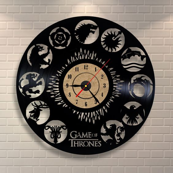 G.O.T. inspired vinyl record wall clock in black