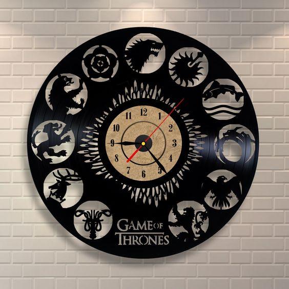 G.O.T. inspired vinyl record wall clock in black
