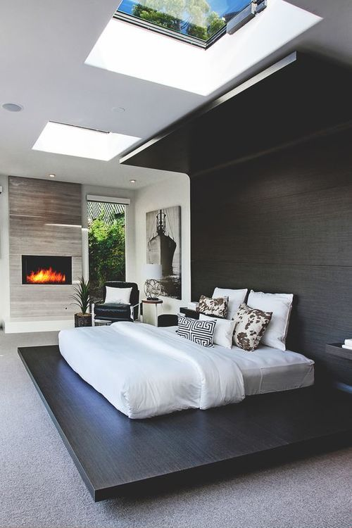 a contemporary bedroom can get square skylights to fit the style