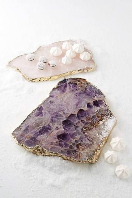 display your delicious desserts on agate and amethyst slice boards with a gilded edge
