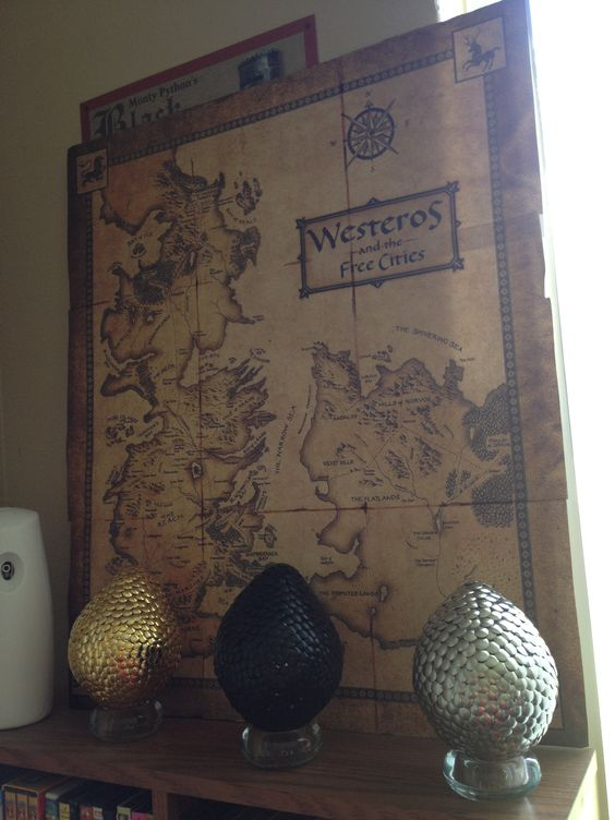Game of Thrones party dragon eggs and a map decoration for fans
