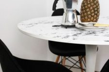 14 cover a dining table with marble contact paper that fits in the color to make it cool