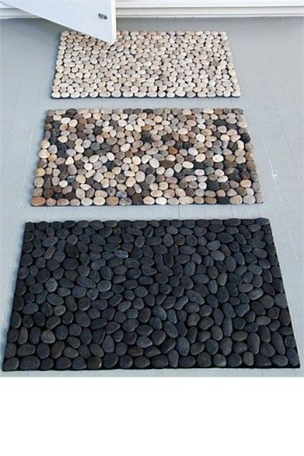 make some pebble bath ats yourself and feel like taking shower or bath outside