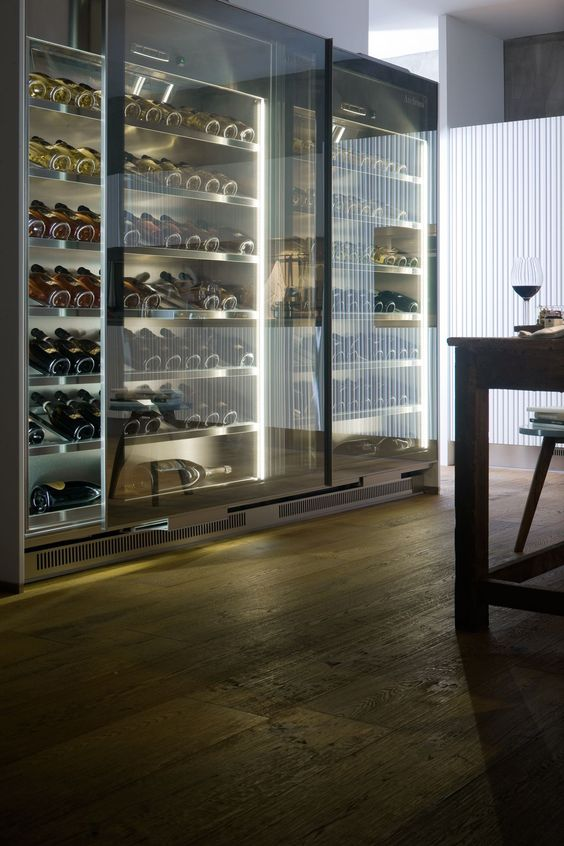 a smoke glass wine storage unit to keep the wine safe