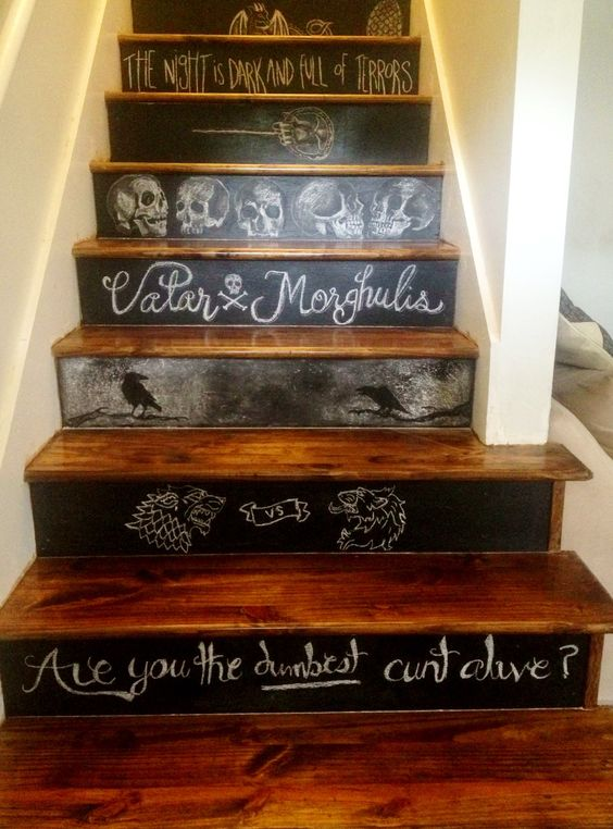 make chalkboard steps and chalk them with everything you like from the series