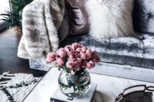 16 fur, marble and velvet create a luxurious interior with a texture