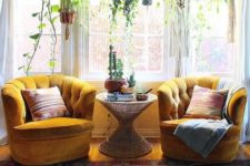 16 mustard velvet armchairs will be a perfect fit for a boho-inspired space
