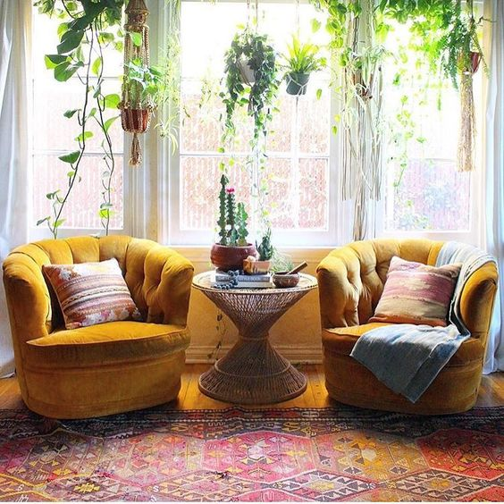 mustard velvet armchairs will be a perfect fit for a boho-inspired space