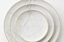17 marble-inspired dinnerware with a gilded edge will make any meal special