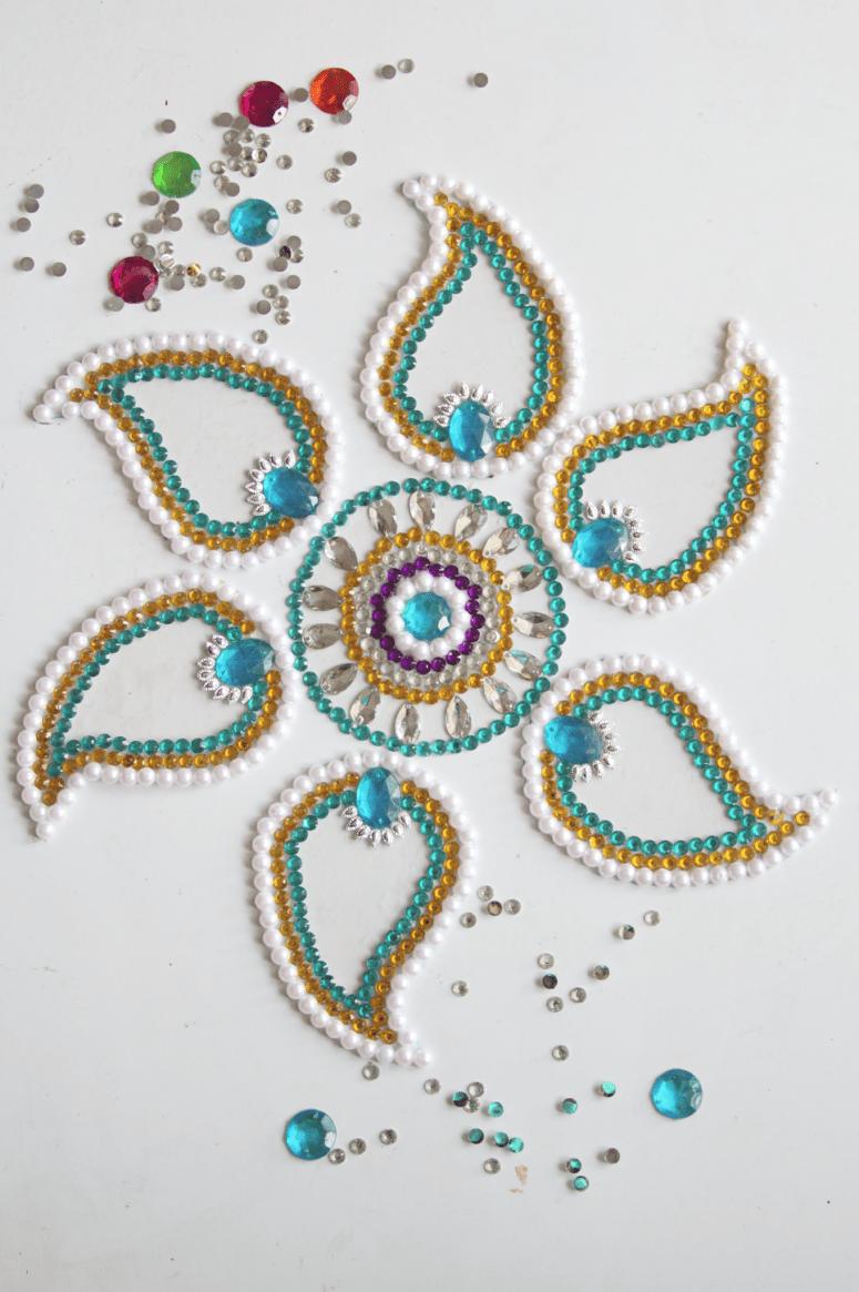 DIY gemstone rangoli floor decor (via surelysimple.com)