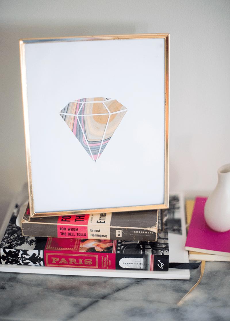 DIY marble gemstone art piece