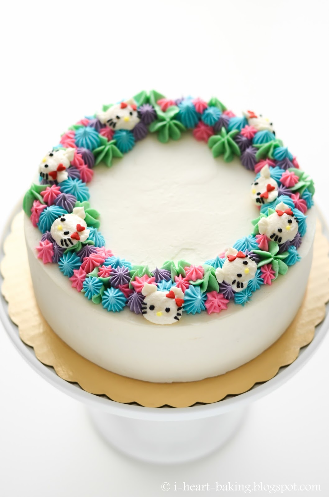 DIY Hello Kitty floral wreath cake
