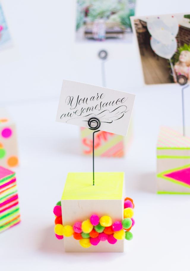 DIY Instagram pompom photo holders (via www.designimprovised.com)