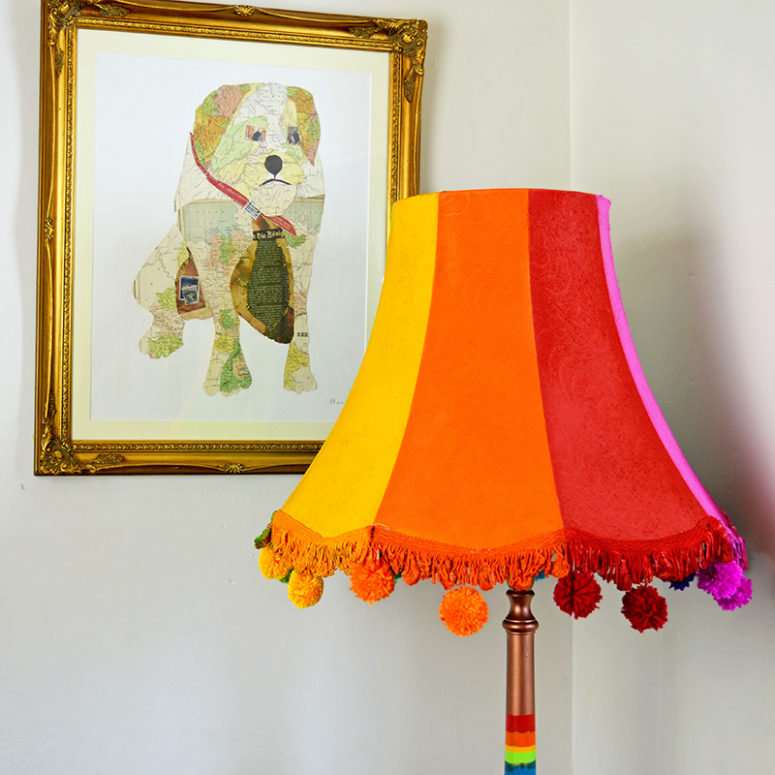 DIY colorful floor lamp with pompoms (via www.pillarboxblue.com)