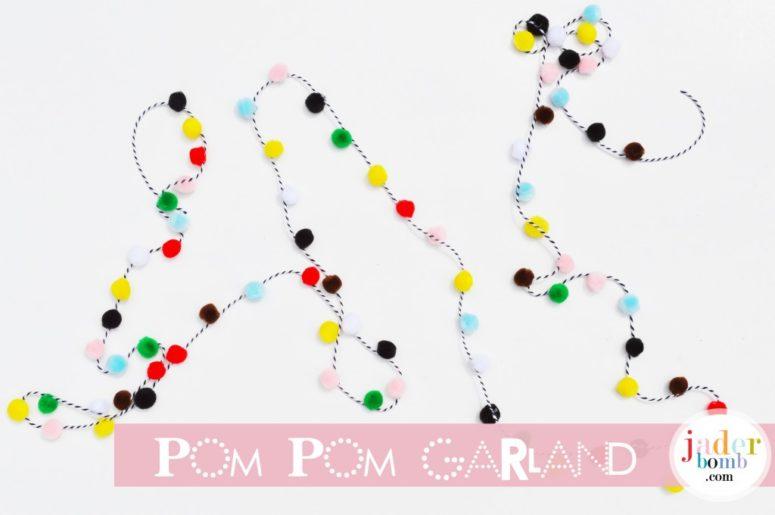 DIY pompom garland (via jaderbomb.com)