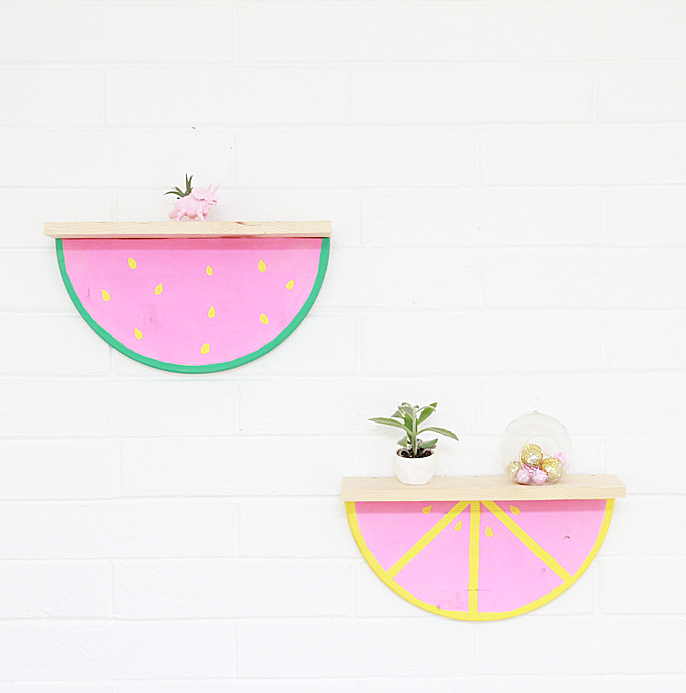 DIY watermelon slice shelf (via www.abubblylife.com)