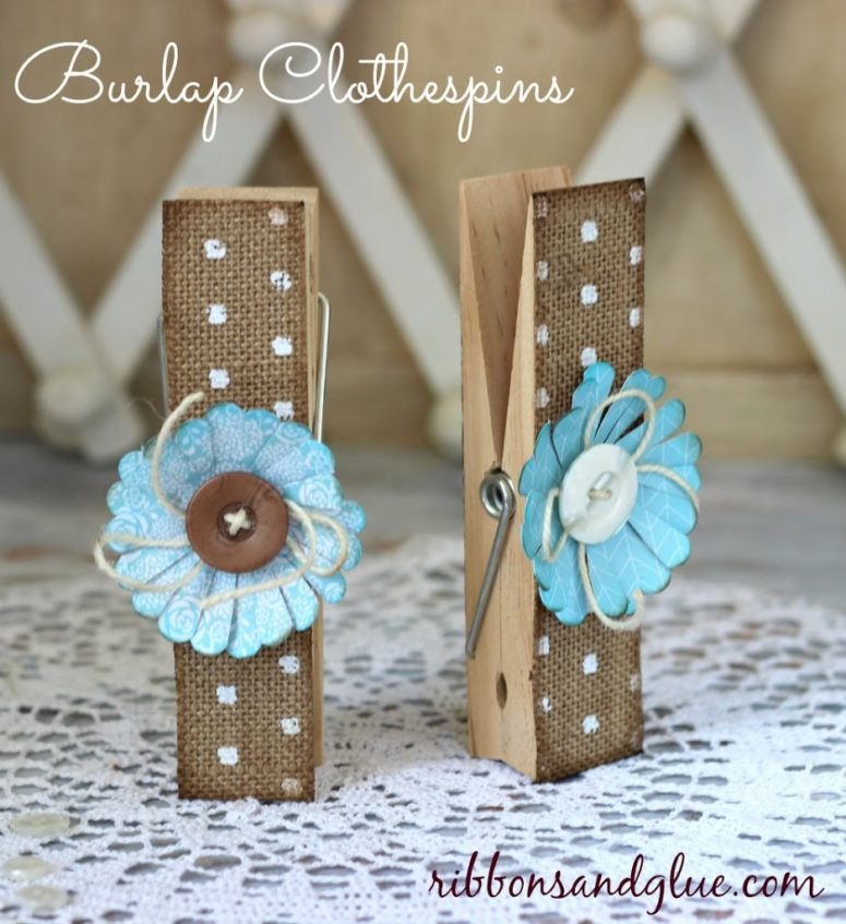 DIY burlap and paper flower clothespins (via www.ribbonsandglue.com)