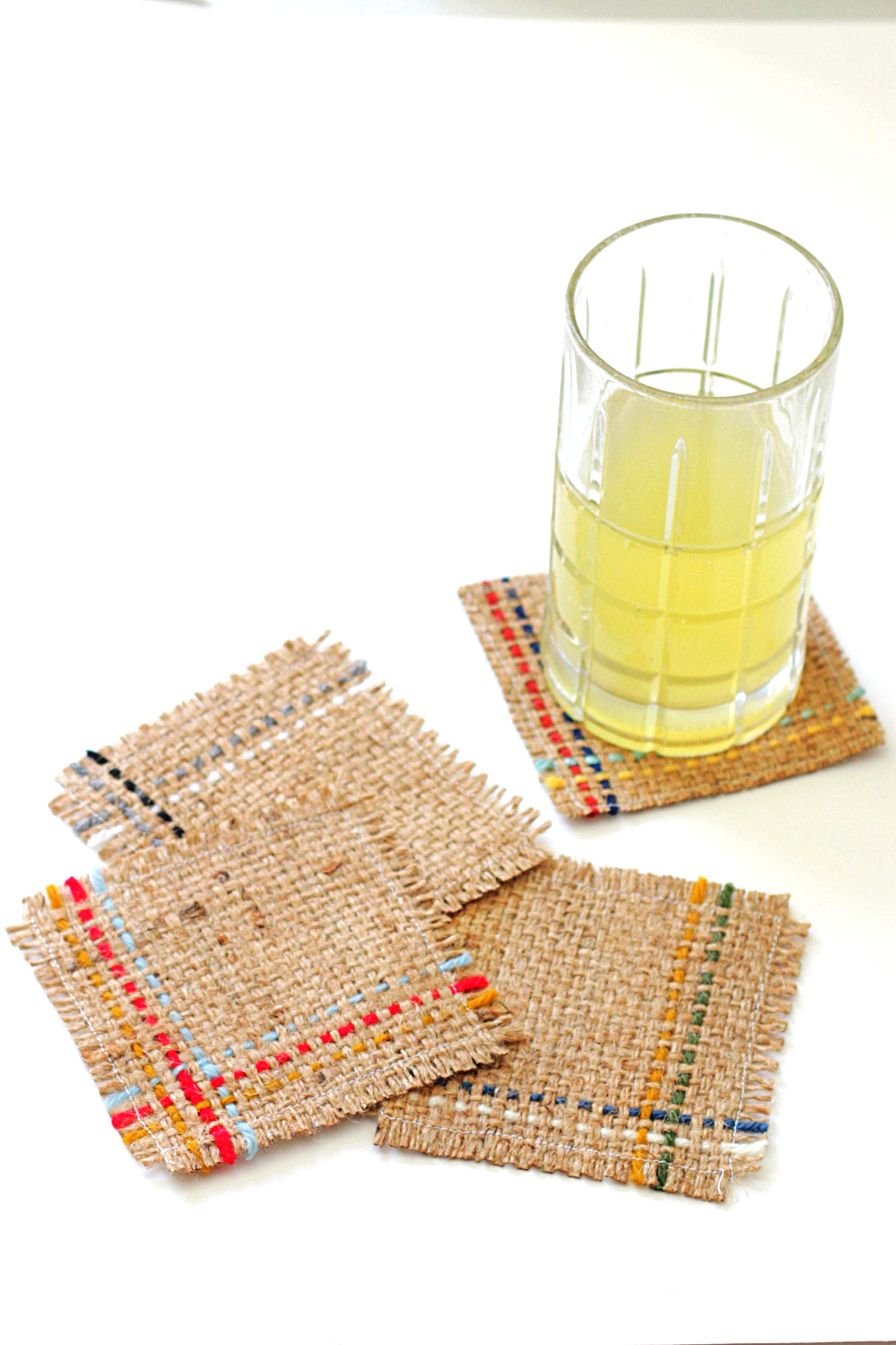 DIY burlap woven coasters