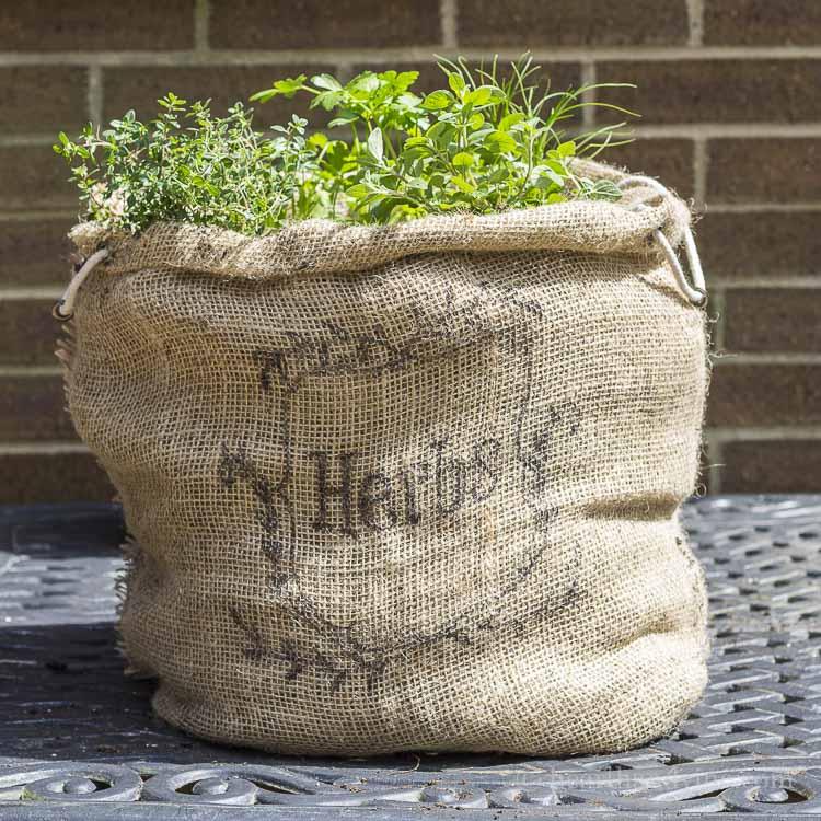 DIY herb garden burlap sack