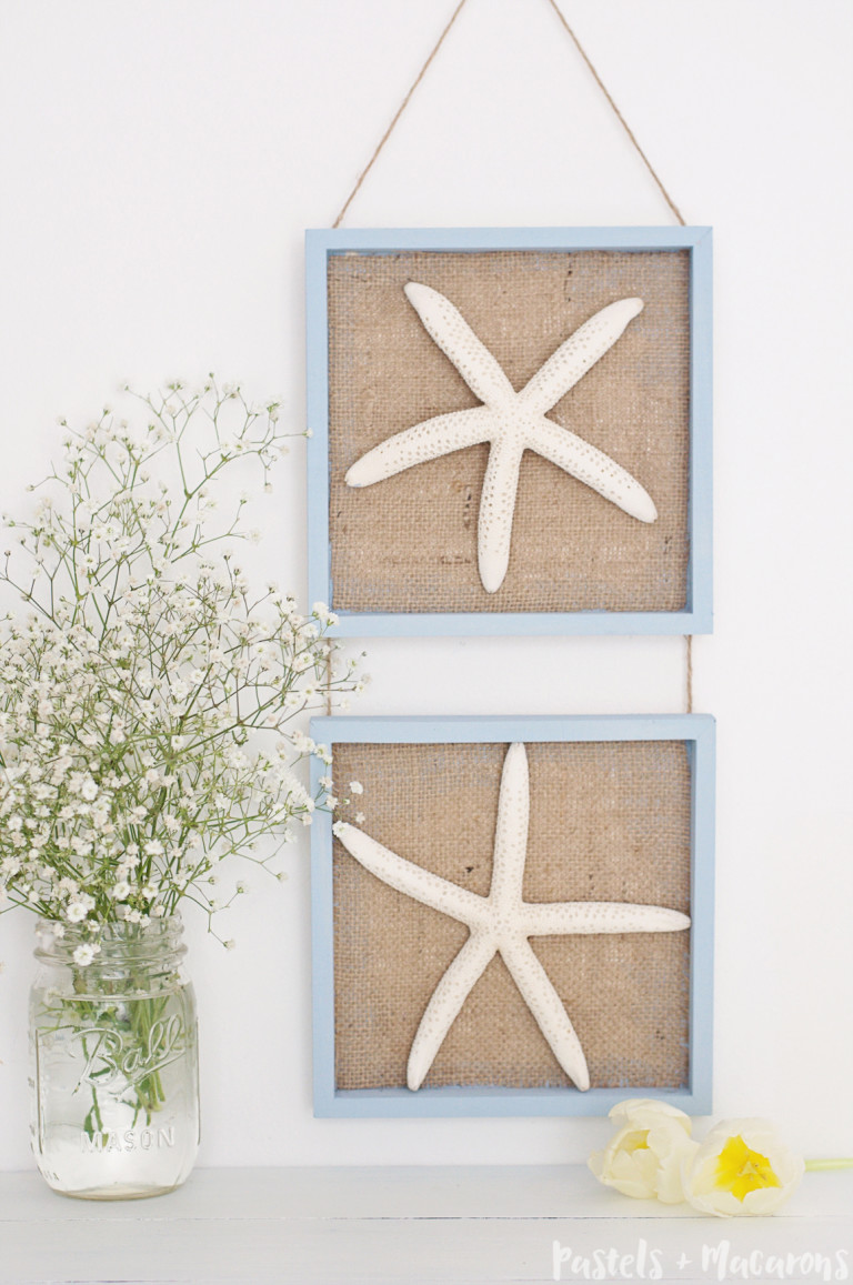 DIY starfish and burlap wall decor