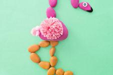 DIY flamingo rock puzzle