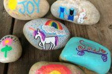 DIY colorful painted rocks