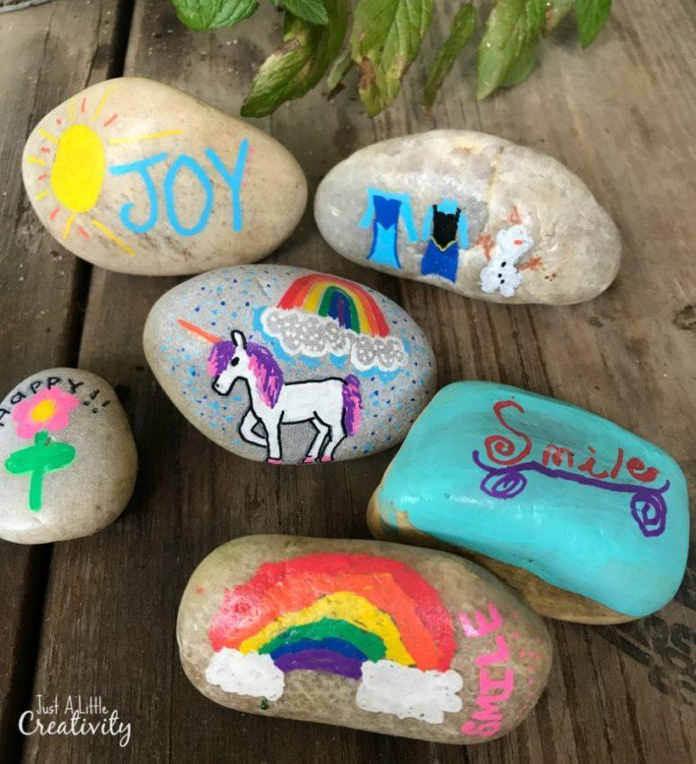 DIY colorful painted rocks (via www.justalittlecreativity.com)