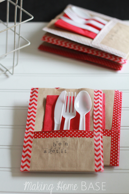 DIY washi tape utensil holders (via www.makinghomebase.com)