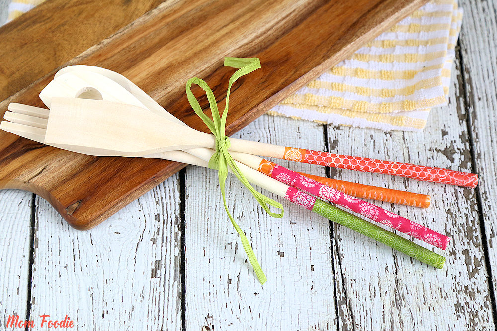 DIY washi tape covered utensils