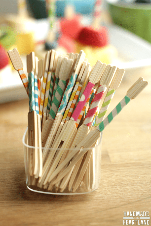 DIY washi tape toothpicks for parties