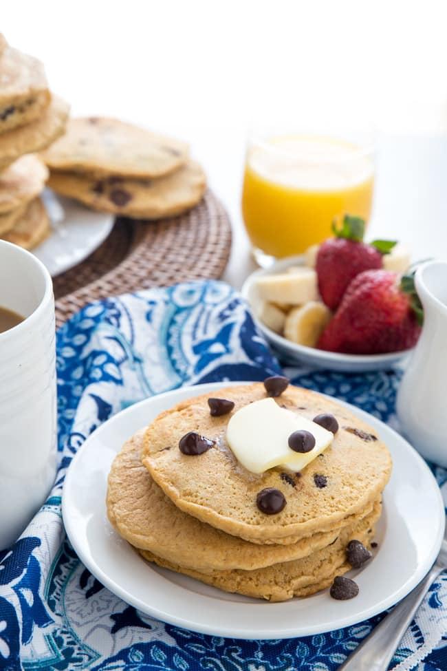 DIY dairy free chocolate chip pancakes