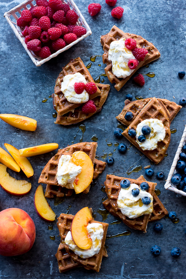 DIY organic blender buckwheat waffles (via theadventurebite.com)