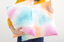 DIY watercolor pillowcase in pink, blue and yellow