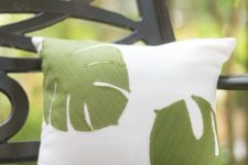 DIY palm leaf applique pillow