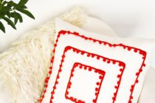 DIY pompom trim pillow