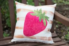 DIY strawberry applique pillow
