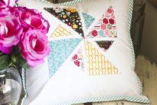 DIY summer pinwheel applique pillow