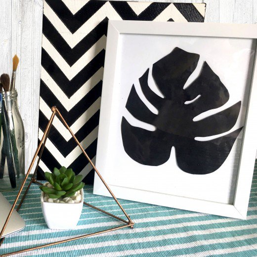 DIY black and white monstera leaf art (via https:)