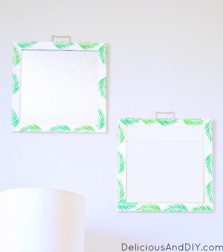 DIY palm leaf stencil mirror (via www.deliciousanddiy.com)