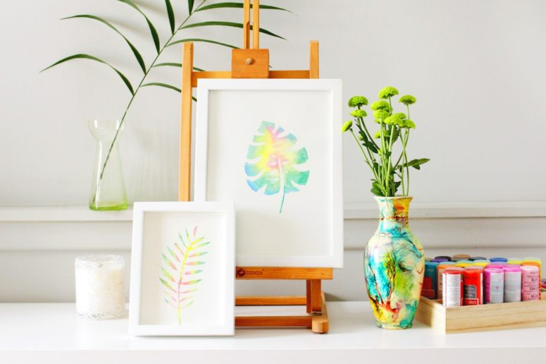 DIY watercolor tropical leaf art (via www.brit.co)
