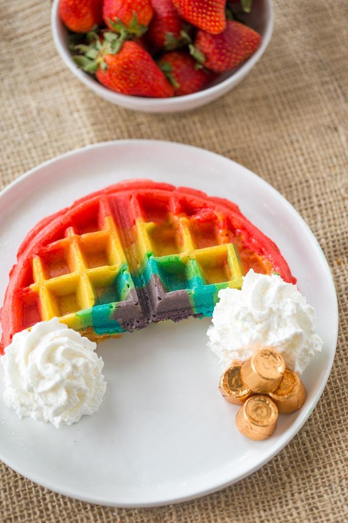 DIY Belgian rainbow waffles (via dinnerthendessert.com)
