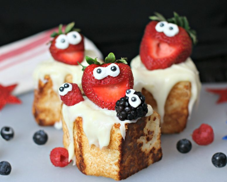 DIY toasted angel food cakes with laughing strawberries (via www.culinaryenvy.com)
